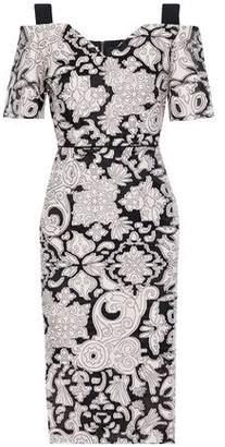 Roland Mouret Awalton Cold-Shoulder Crepe-Paneled Fil Coupé Cotton And Silk-Blend Dress