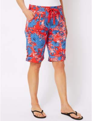 George Red Floral Print Poplin Knee Length Shorts