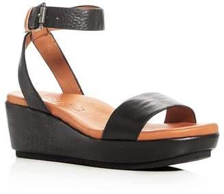 Kenneth Cole Gentle Souls by Gentle Souls Morrie Leather Ankle Strap Platform Wedge Sandals