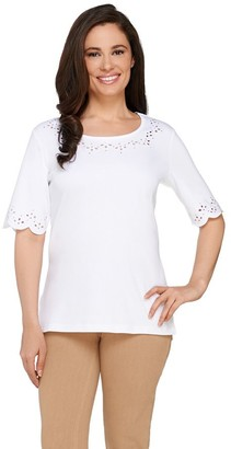 Factory Quacker Smile N' Style Scalloped Elbow Sleeve T-shirt