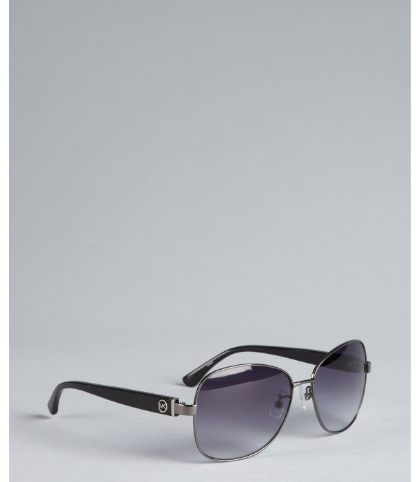 Michael Kors gunmetal metal and logo acrylic 'Tunisia' sunglasses