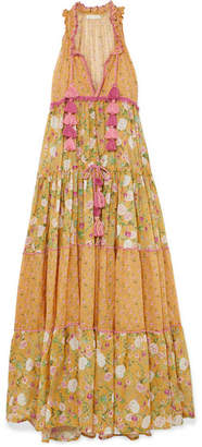 Anjuna - Naomi Floral-print Crochet-trimmed Cotton-voile Maxi Dress - Mustard