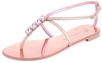 Giuseppe Zanotti Flat Jeweled Metallic Leather Thong Sandal