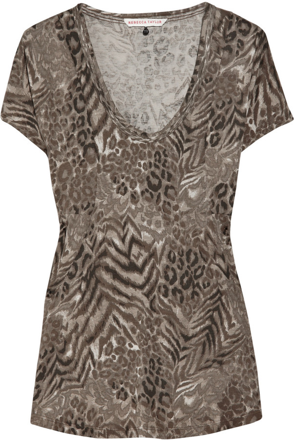 Rebecca Taylor Animal-print cotton-blend T-shirt