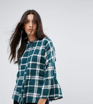 Noisy May Tall Check Shirt With Peplum Sleeve