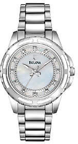 Bulova Ladies Mother-of-Pearl Diamond Dial Bracelet Watch $350 thestylecure.com