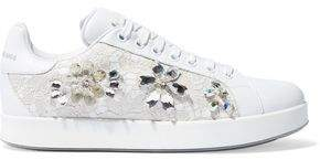 Dolce & Gabbana Embellished Lace-Paneled Leather Sneakers
