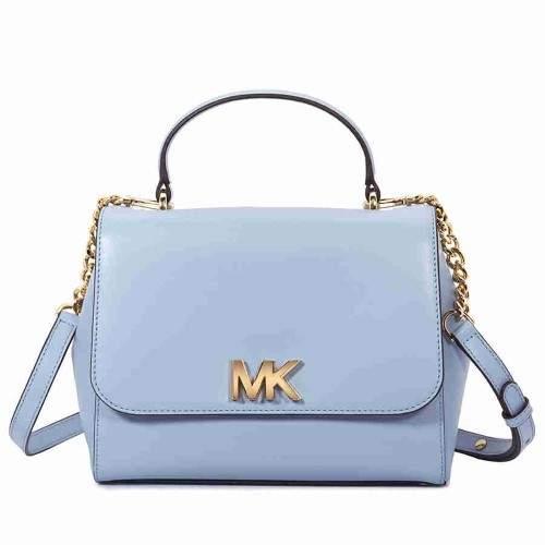 Michael Kors Mott Medium Leather Satchel- Pale Blue - PALE BLUE - STYLE
