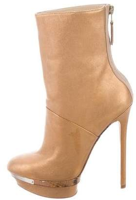 Brian Atwood Metallic Platform Ankle Boots