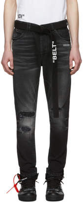 Off-White Black Slim Low Crotch Jeans
