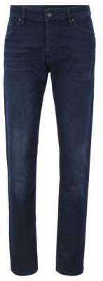 BOSS Regular-fit jeans in distressed dark-blue knitted denim