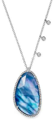 Meira T 14K White Gold Blue Sapphire and Moonstone Doublet Necklace with Diamonds, 16""