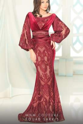 Couture Mnm Flowing Lace Gown