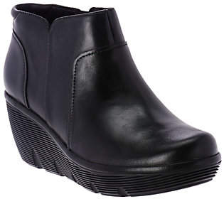Clarks Artisan Leather Wedge Ankle Boots -Clarene Sun
