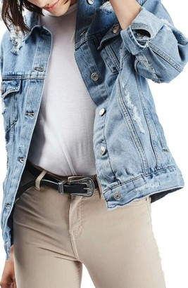 Women's Topshop Moto Ripped Oversize Denim Jacket $95 thestylecure.com