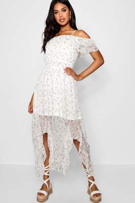 boohoo Boutique Floral Cold Shoulder Maxi Dress