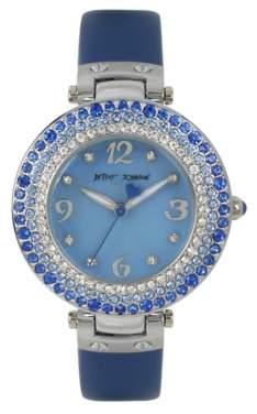 Betsey Johnson Blue Stone Bezel Women's Watch