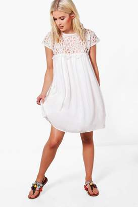 boohoo Boutique Lace Top Shift Dress