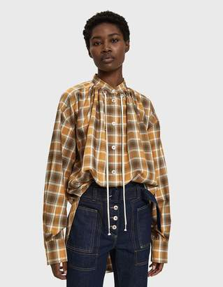 Walk Of Shame Plaid Pleated Snap-Button Shirt