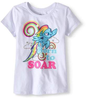 "My Little Pony Girls' Rainbow Dash ""Born to Soar"" Glitter Graphic T-Shirt"