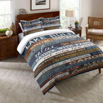 Laural Home® Lake Rules Queen Comforter in Blue