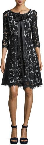 Marc JacobsMarc Jacobs 3/4-Sleeve Floral-Lace Dress, Black
