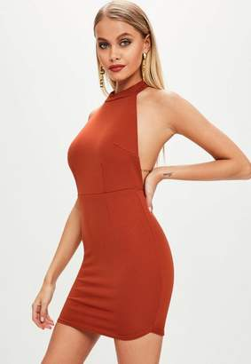 Missguided Rust Halterneck Backless Bodycon Dress