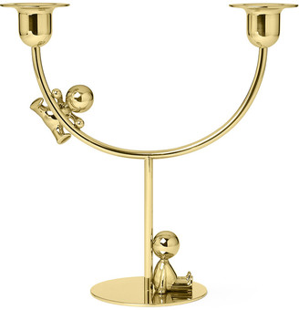 GHIDINI 1961 - Omini Brass Double Candle Holder - The Lazy Climber