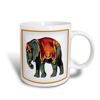 3dRose Framed Victorian Circus Elephant, Ceramic Mug, 11-ounce