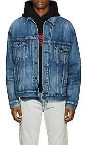 Balenciaga Men's Logo Denim Trucker Jacket - Blue