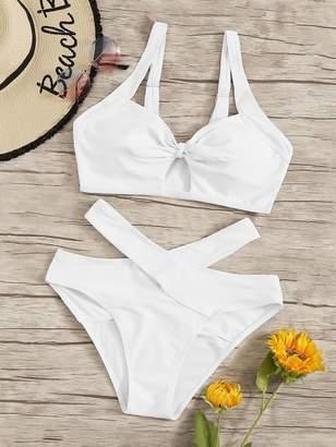 Shein Cut Out Top With Criss Cross Bikini Set