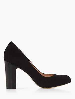 Dune Arte Suede Block Heel Court Shoes, Black
