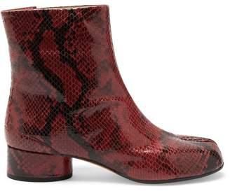 Maison Margiela Tabi Split Toe Python Effect Leather Boots - Womens - Black Red