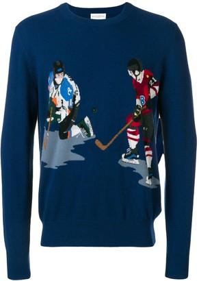 Ballantyne ice hockey intarsia knit sweater
