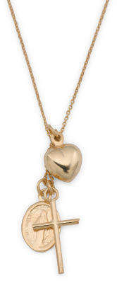 Made In Italy 14k Gold Heart Cross Madonna Charm Necklace