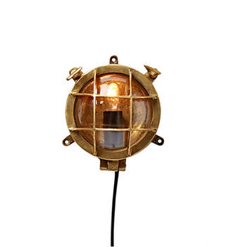 Rejuvenation Miniature Nautical Brass Bulkhead Light
