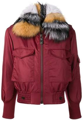Yves Salomon Army fur trimmed bomber jacket