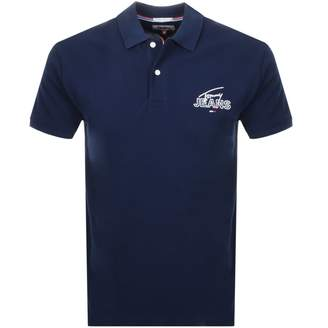 Tommy Jeans Logo Polo T Shirt Navy