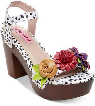 Betsey Johnson Rosee Flower Wood Clog Sandals
