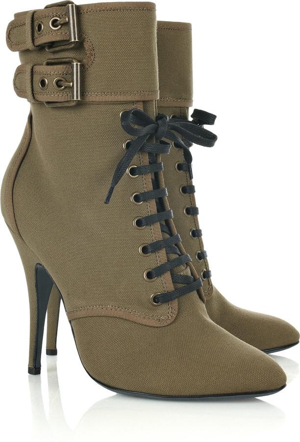 Balmain Lace-up canvas ankle boots