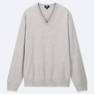 Uniqlo Men's Supima Cotton V-Neck Long-sleeve Sweater
