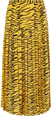 RIXO - Tina Pleated Tiger-print Silk Crepe De Chine Skirt - Zebra print