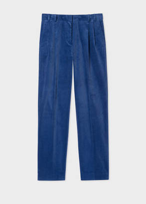 Paul Smith Women's Blue Fine Corduroy Double-Pleat Trousers