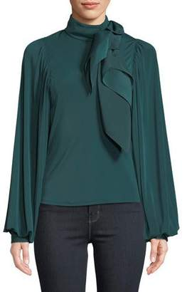 Self-Portrait Jersey Puff-Sleeve Top with Scarf