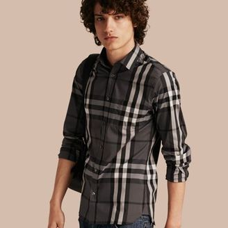 Burberry Check Stretch Cotton Shirt $325 thestylecure.com