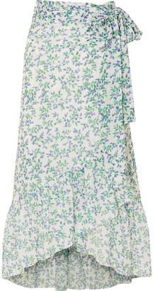 Ganni Tilden Floral-print Mesh Wrap Skirt - Sky blue