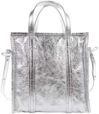 Balenciaga Bazaar Bag Silver Leather Handbags