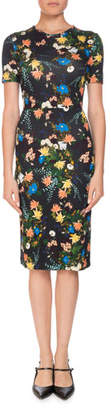 Erdem Essie Mariko Meadow Short-Sleeve Floral-Print Fitted Dress