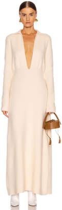Jil Sander Deep V Long Sleeve Dress in Pearl   FWRD