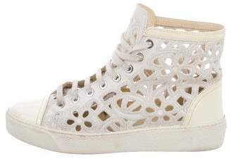 Chanel Camelia Laser Cut High-Top Sneakers